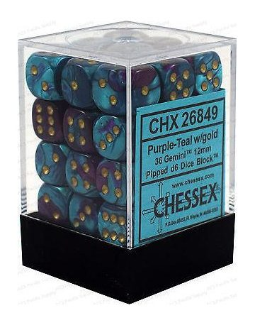 chessex-teal-gold